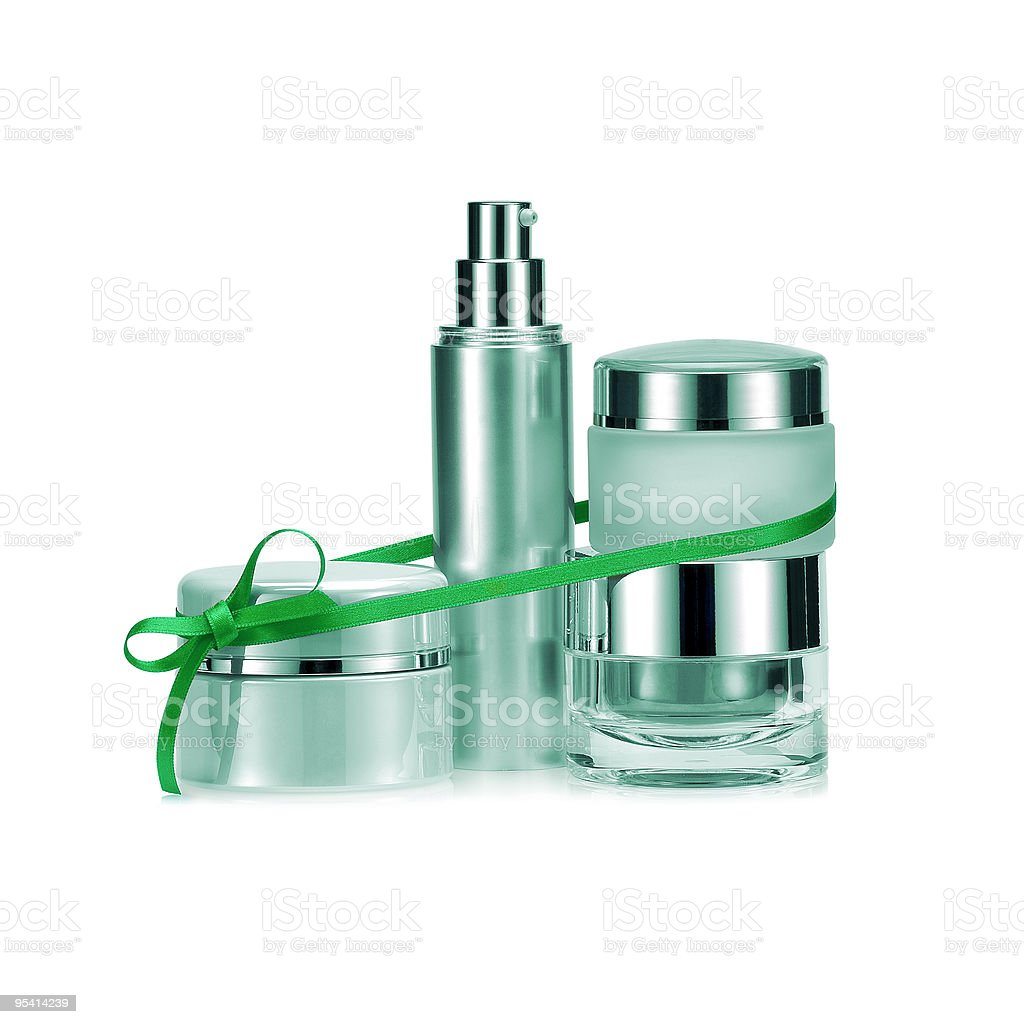 Beauty set gift in green color. royalty-free stock photo