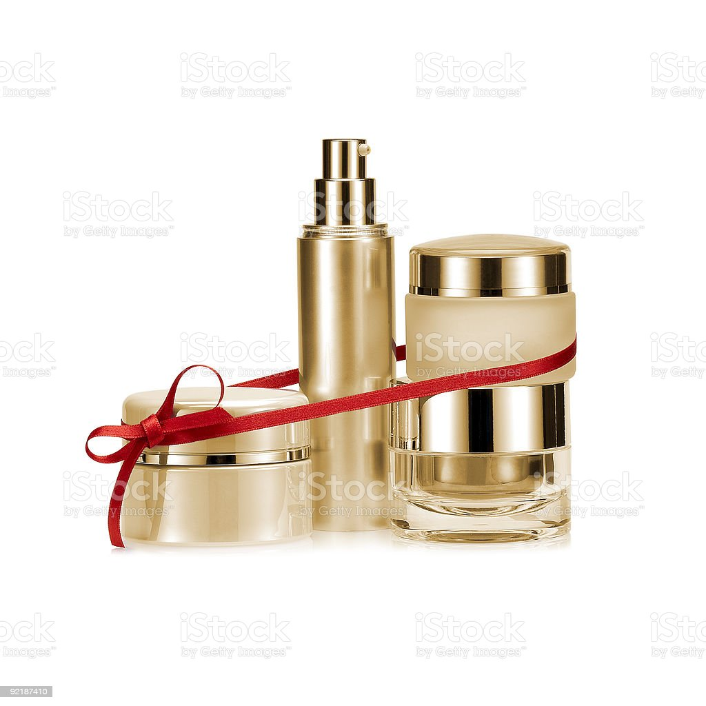 Beauty set linked with red color gift bow stock photo