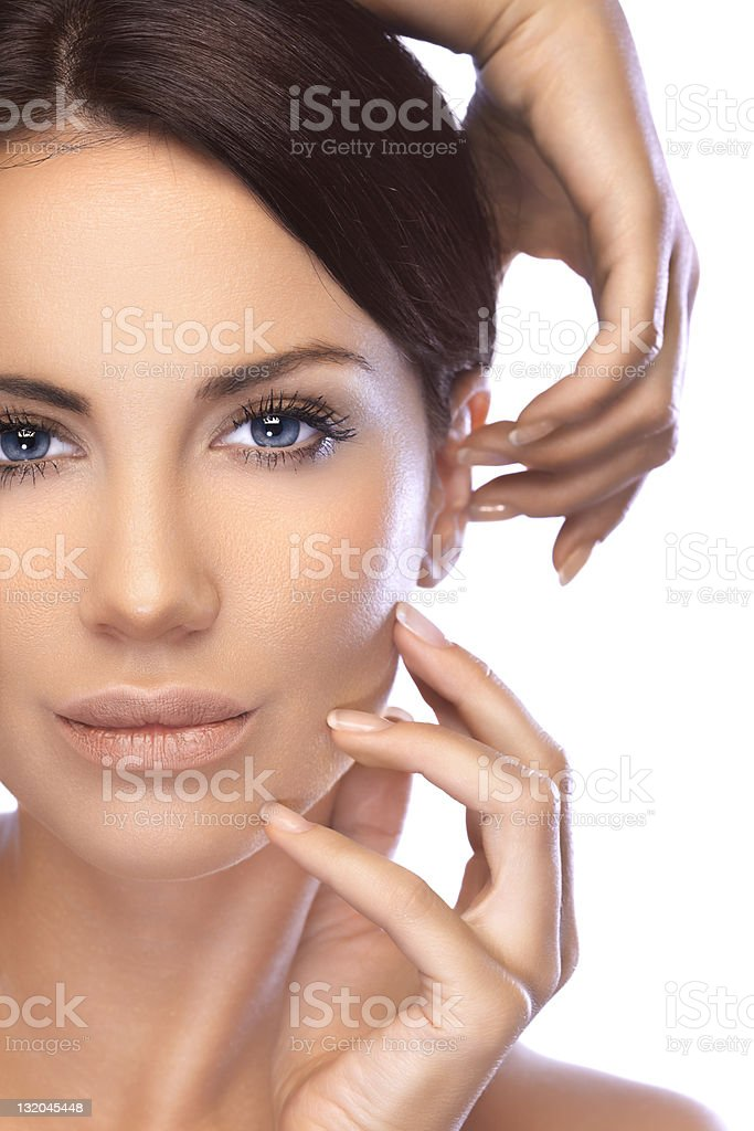 Beauty shot of a blue eyed, young, beautiful brunette woman royalty-free stock photo