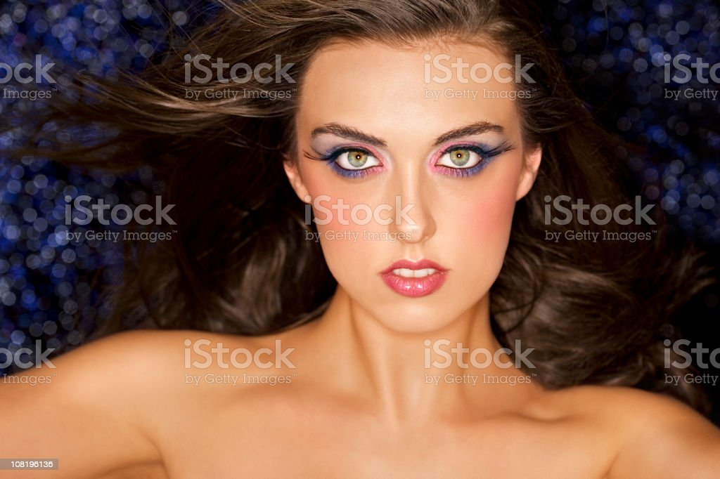 Beautiful Brunette Young Woman Makeup Model with Long Flowing Hair royalty-free stock photo