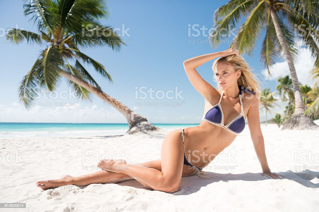 Beauty sitting in front of palm trees by the ocean stock photo