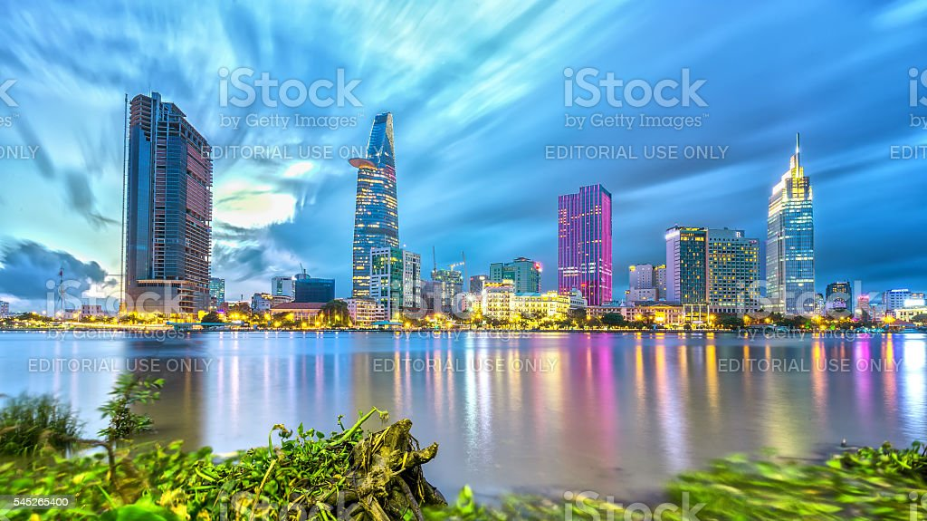 Beauty skyscrapers architecture electric light stock photo
