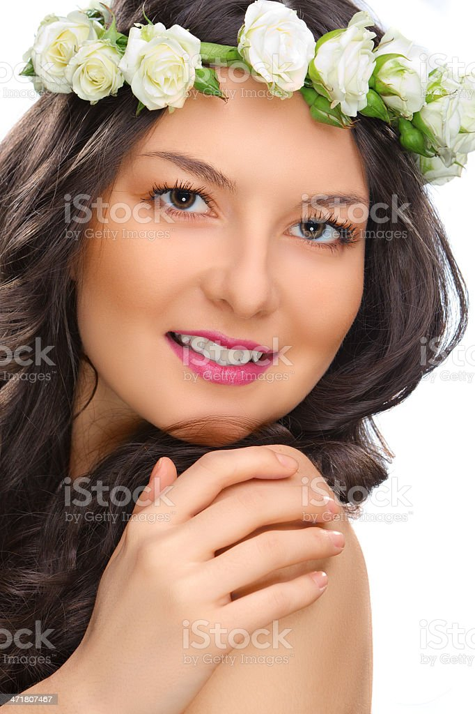 beauty smile woman with flower isolated royalty-free stock photo
