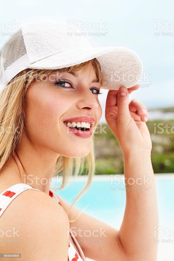 Beauty smiling at camera stock photo