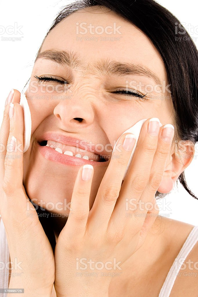Beauty smiling girl with cotton pads royalty-free stock photo