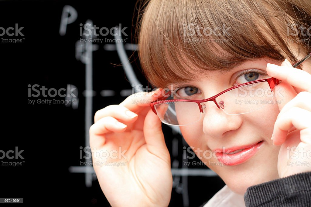beauty student and blackboard royalty-free stock photo