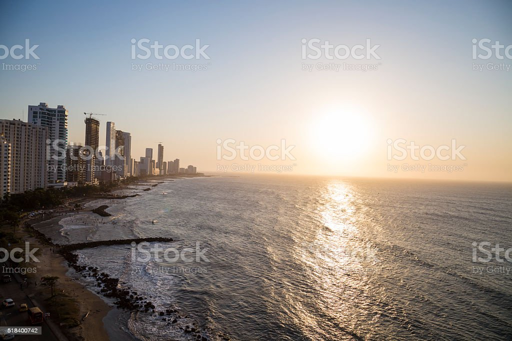Beauty sunset in Bocagrande - Cartagena stock photo