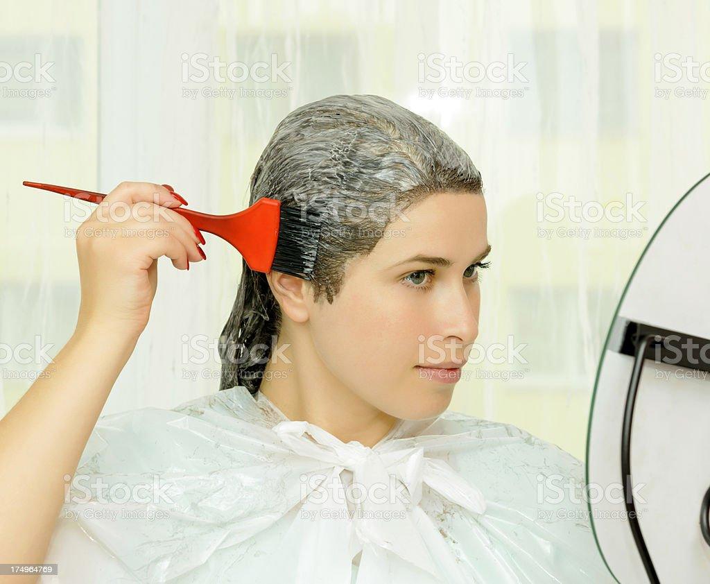 beauty treament at hair stock photo