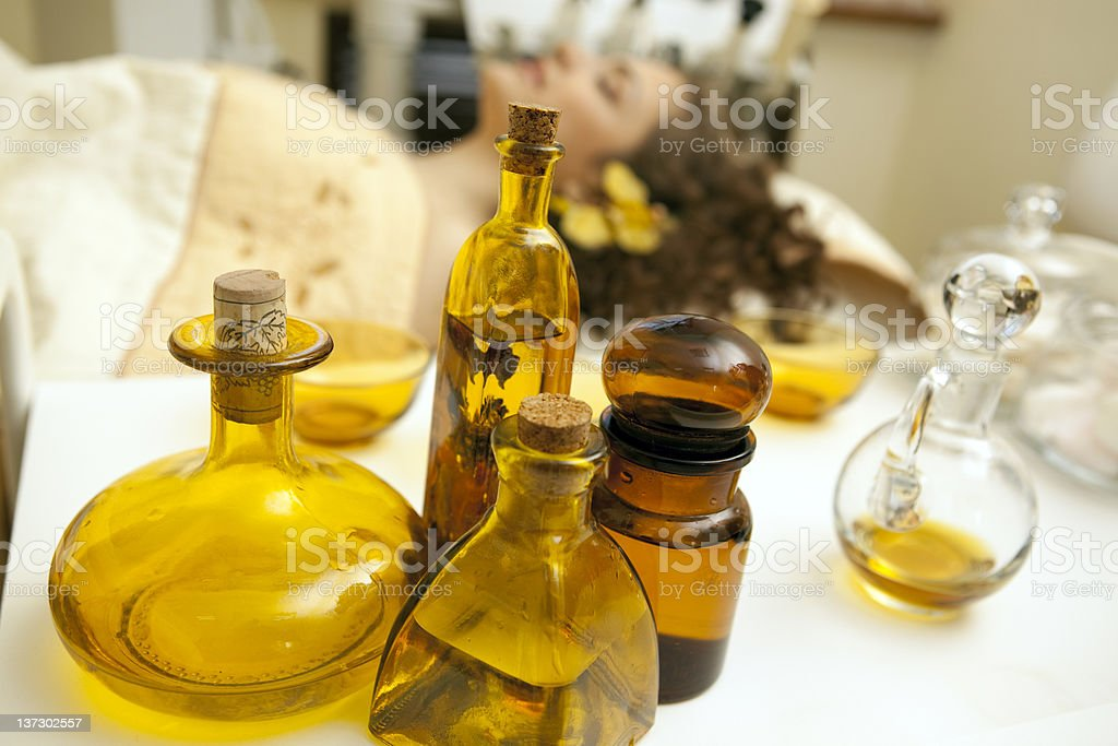 Beauty treatment: different oil bottles. royalty-free stock photo