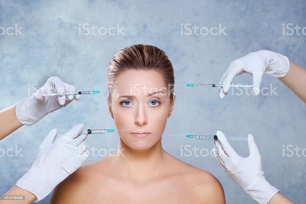 Beauty treatment with botox stock photo