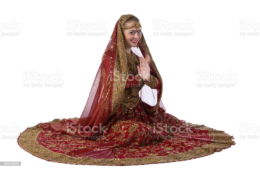 Beauty white woman in traditional indian costume stock photo