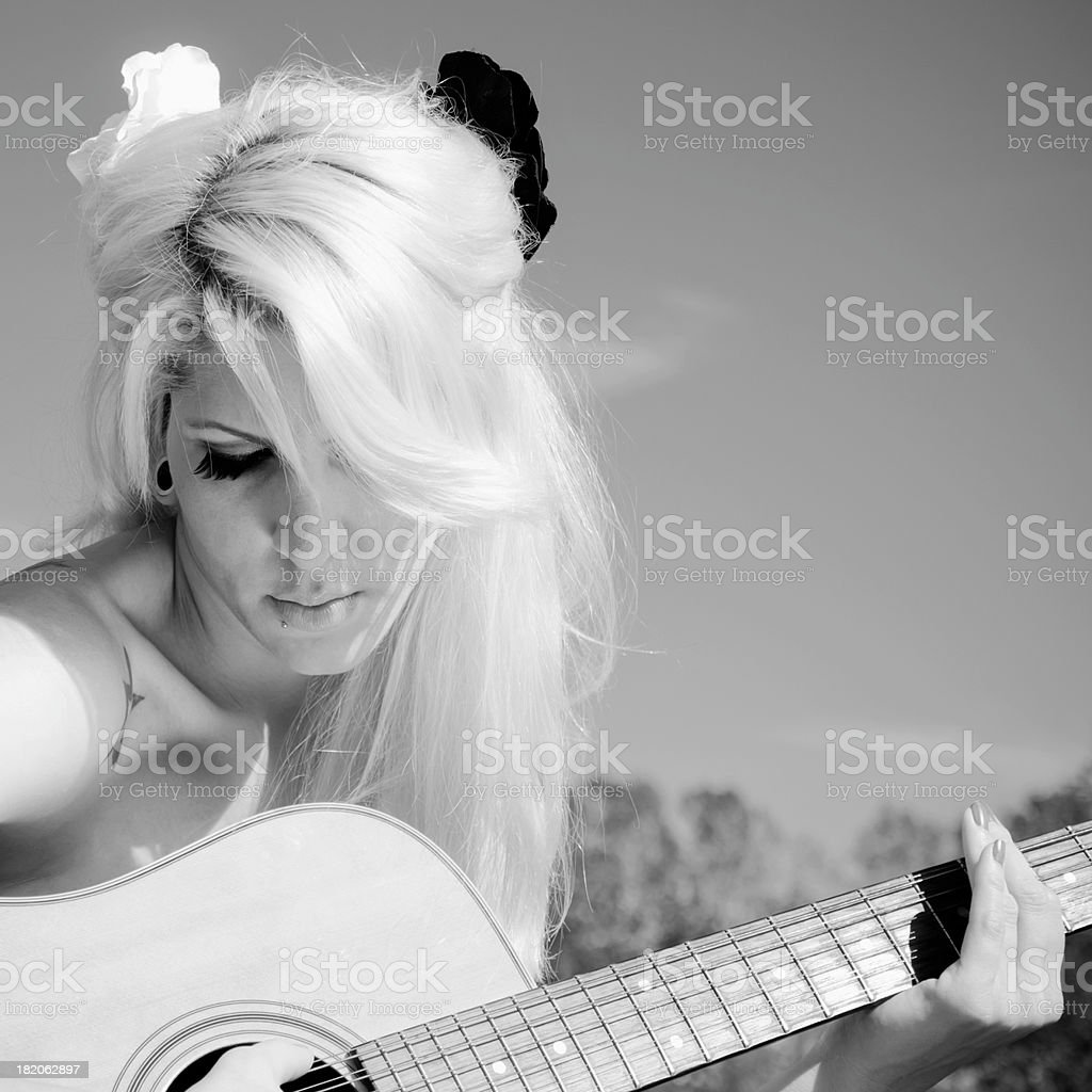 Beauty with a Guitar royalty-free stock photo