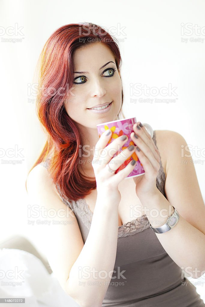Beauty with Cup of Tea royalty-free stock photo