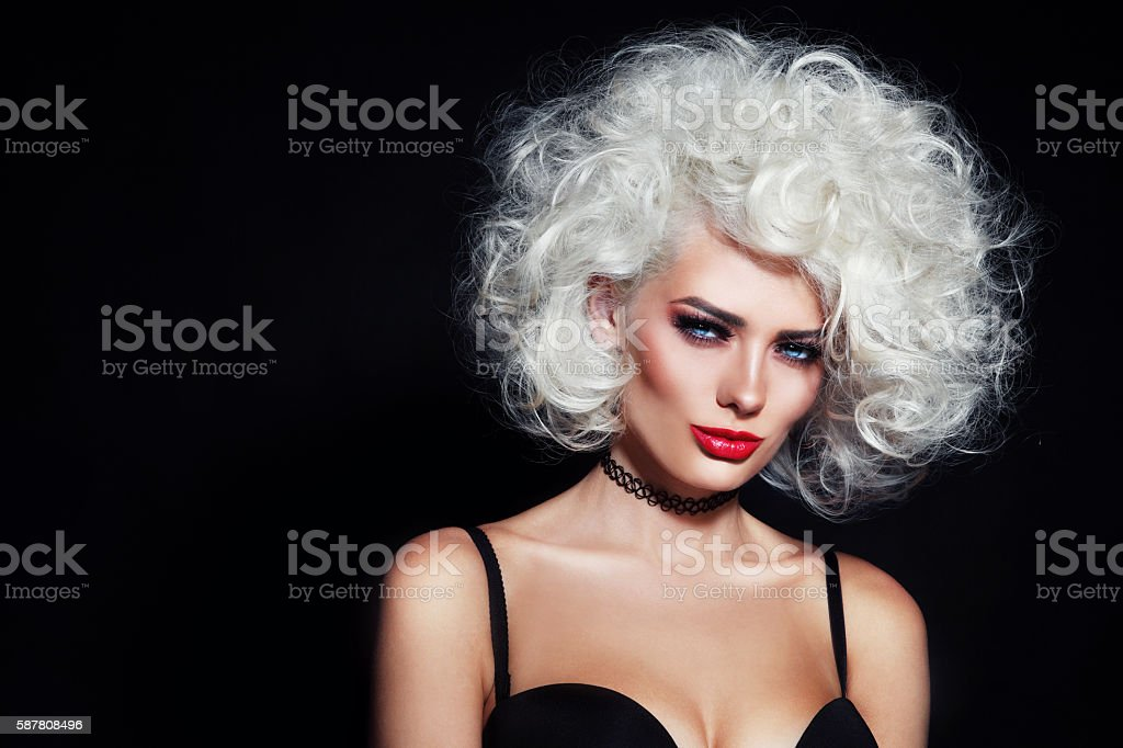 Beauty with curly hair stock photo