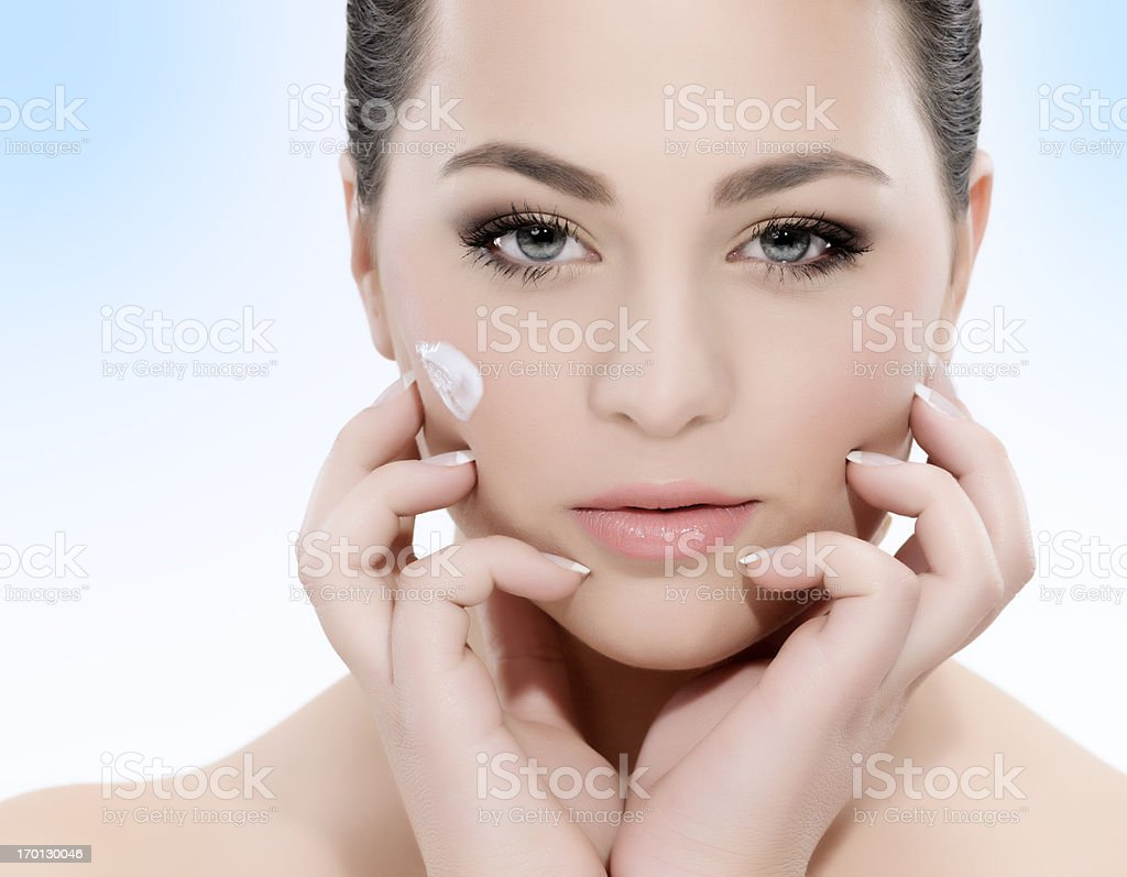 beauty with face cream royalty-free stock photo