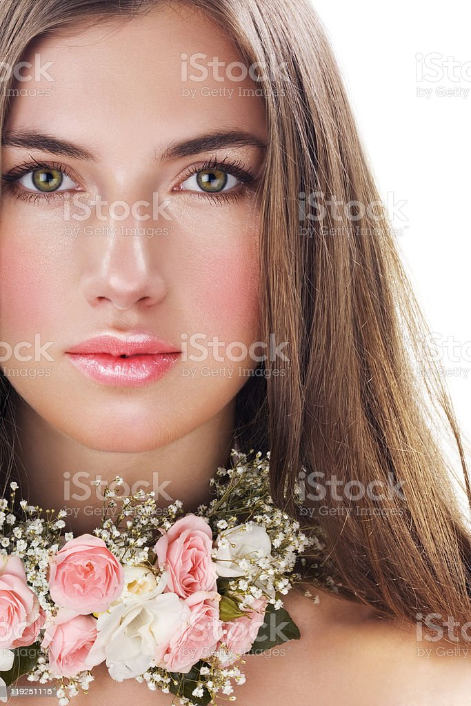 Beauty with flower necklace royalty-free stock photo