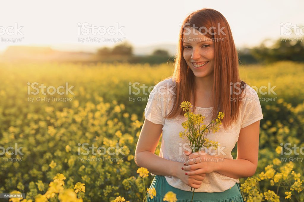 Beauty with flowers stock photo