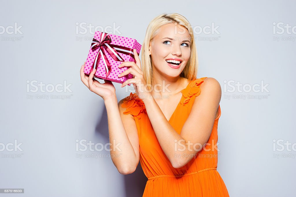 Beauty with gift box. stock photo