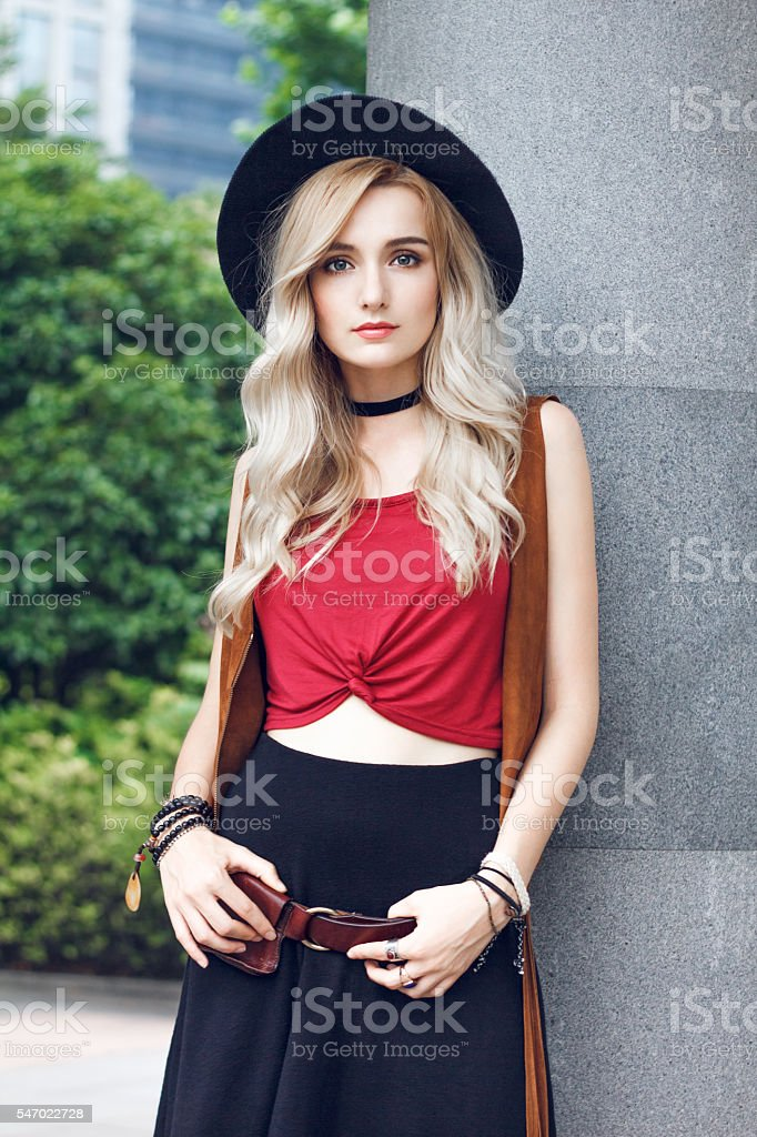 Beauty with golden hair stock photo