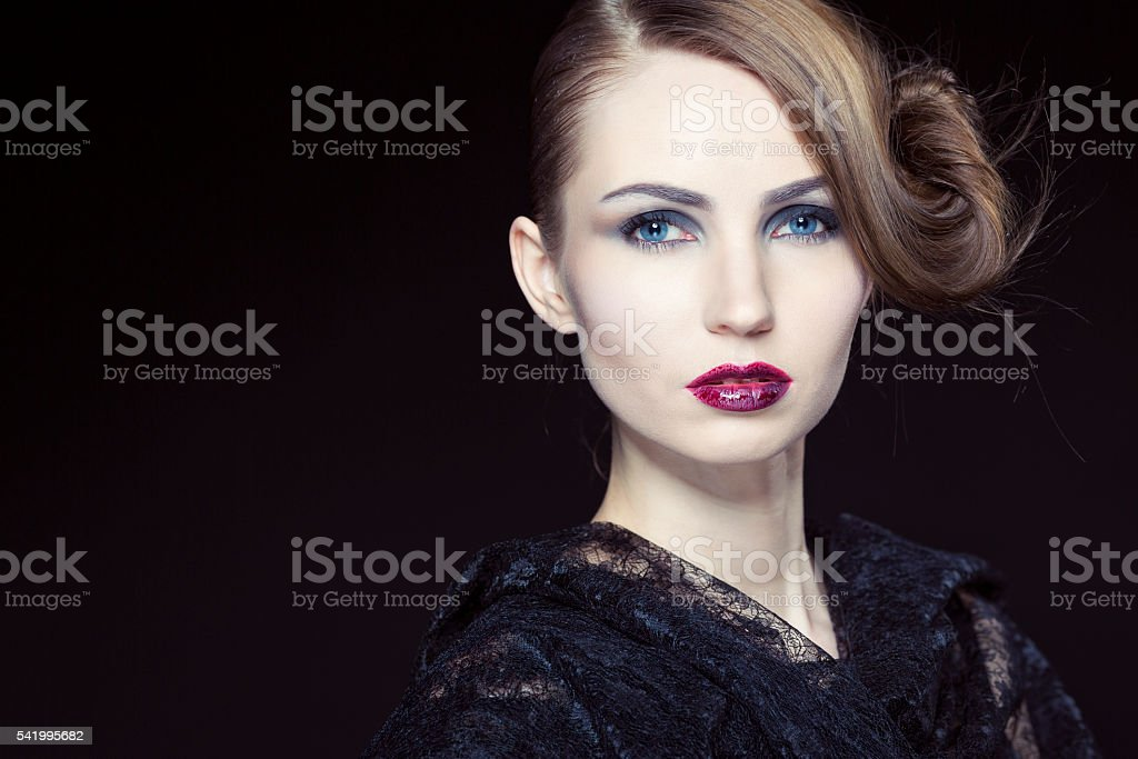 Beauty with Halloween makeup and styled hair stock photo
