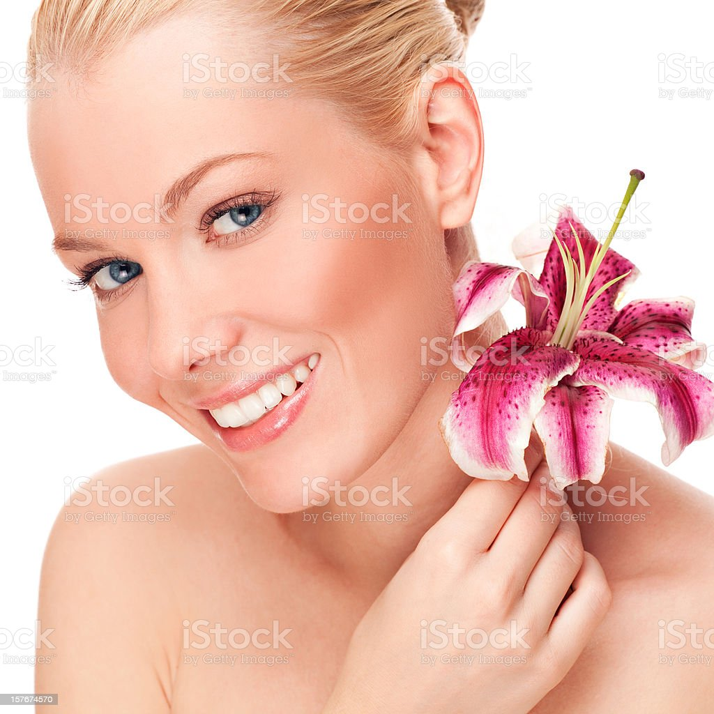 Beauty with Lily royalty-free stock photo