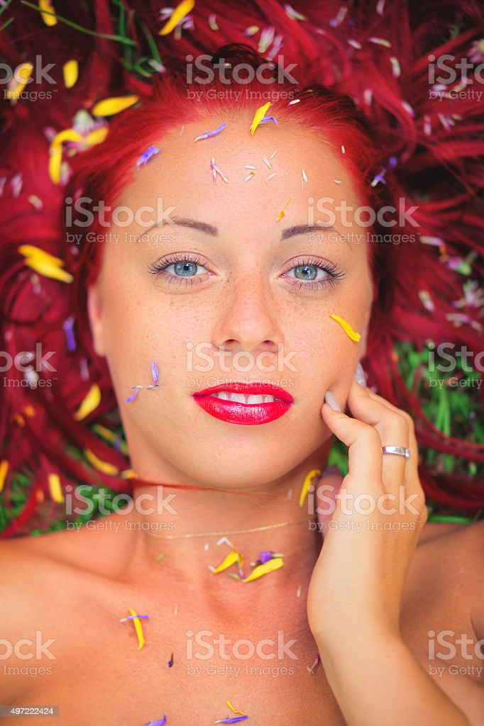 Beauty with petals stock photo
