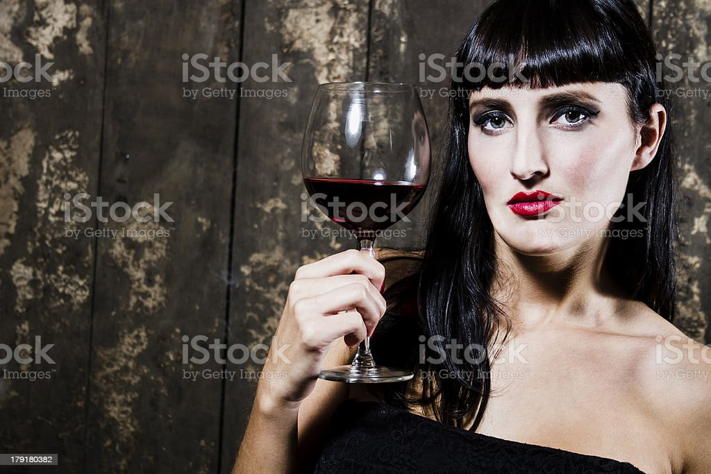 Beauty with red wine royalty-free stock photo