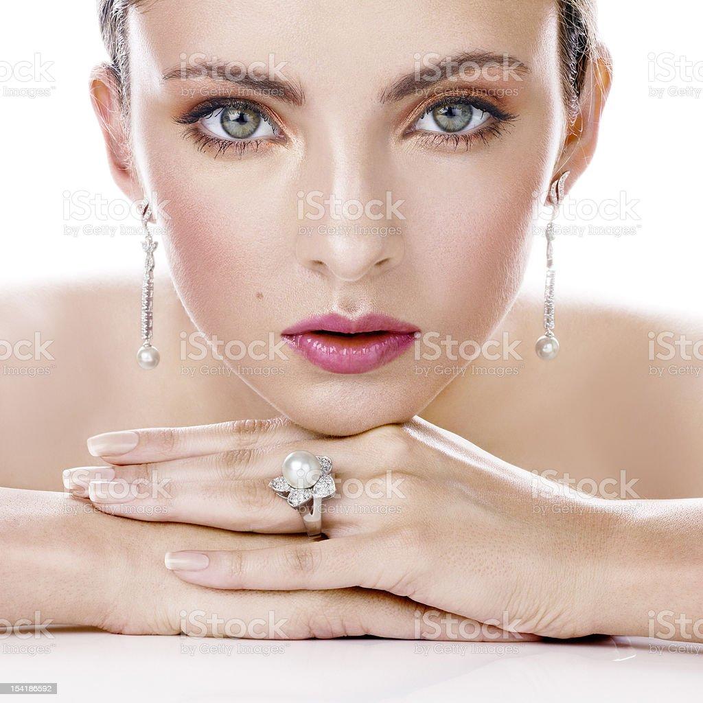 Beauty with stylish jewelry stock photo