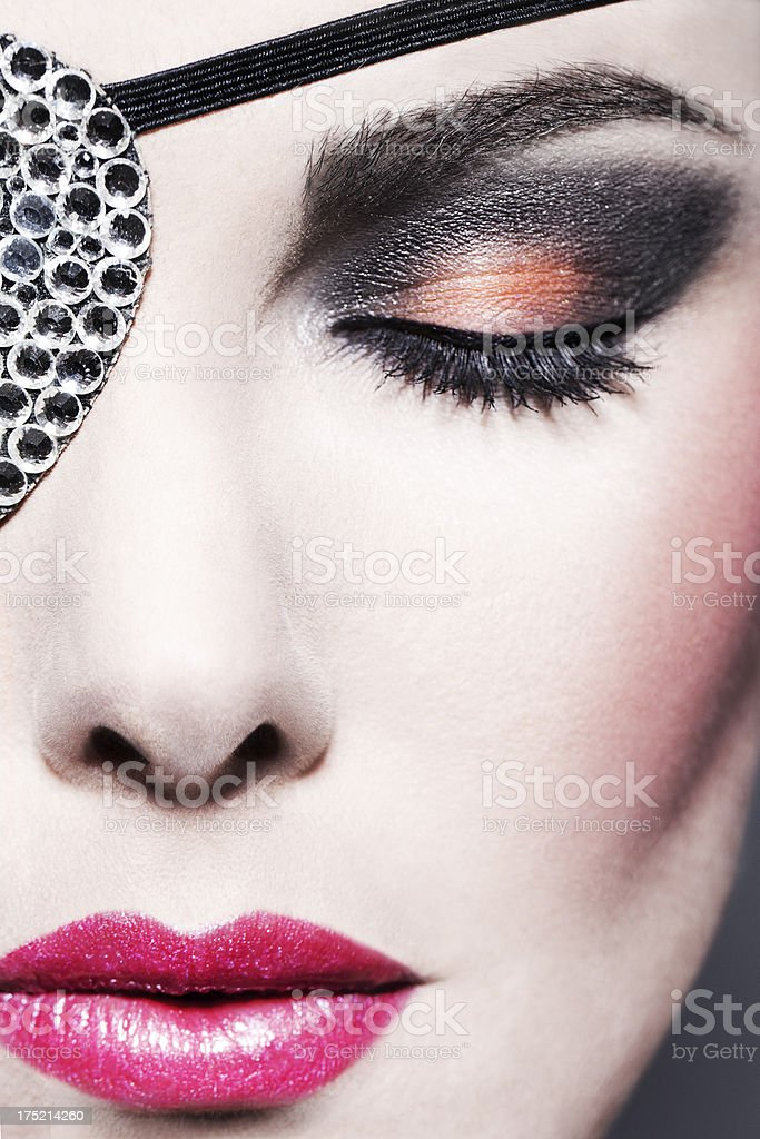 Beauty with Swarovski Eye Patch royalty-free stock photo