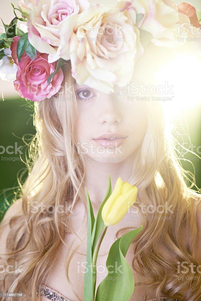 Beauty with tulip royalty-free stock photo