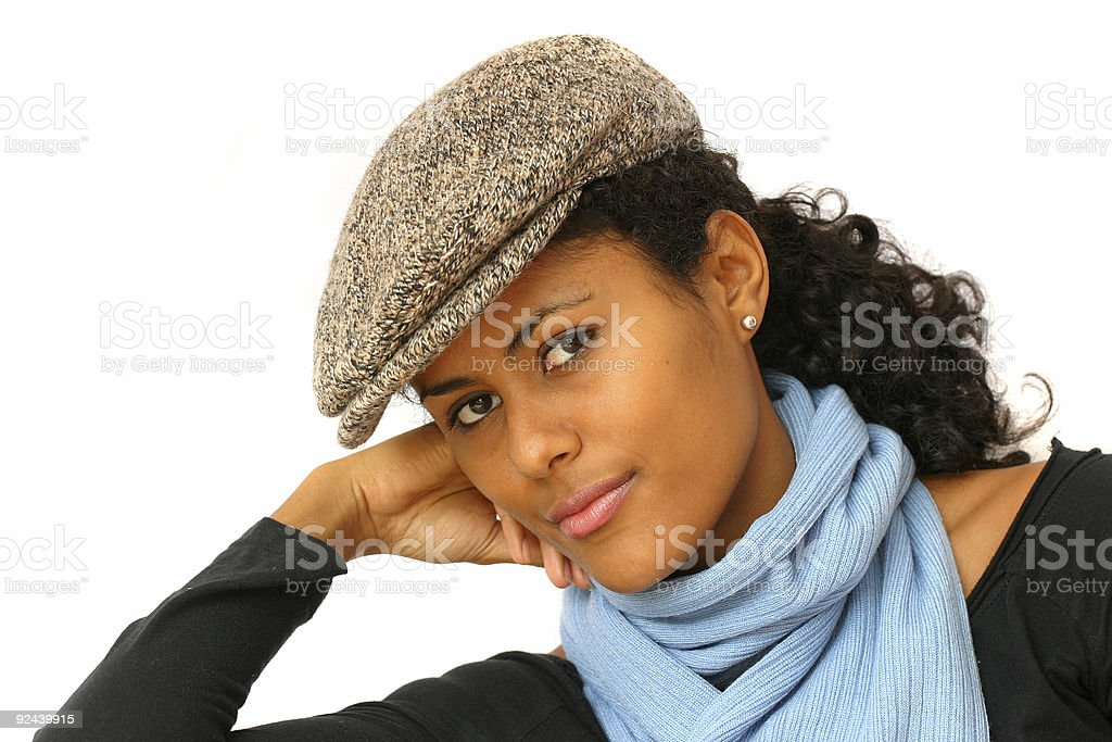 Beauty with tweed cap royalty-free stock photo