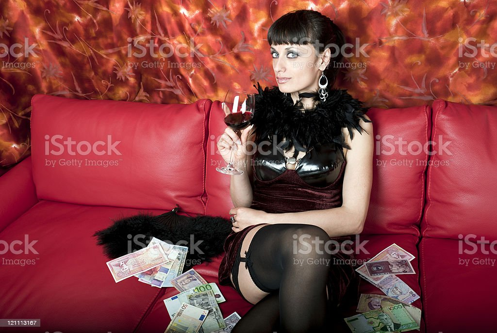 Beauty with Wineglass Fan and Money royalty-free stock photo