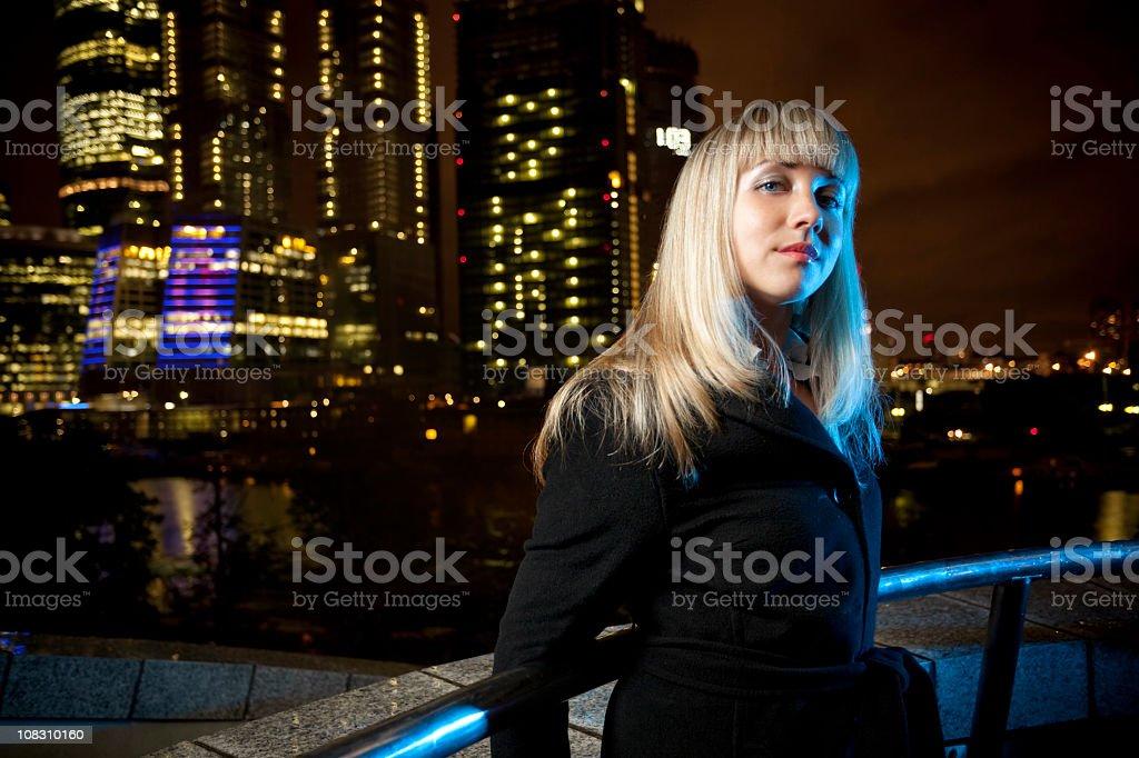 Beauty woman at night stock photo