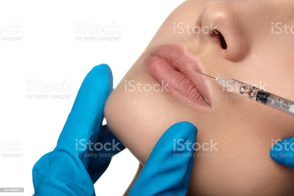 Beauty woman botox injections. stock photo