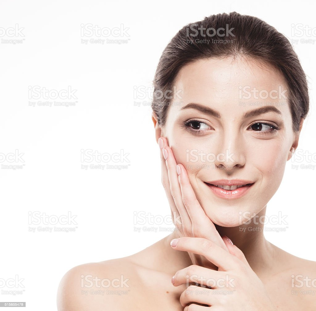 Beauty Woman face Portrait. Beautiful model Girl with Clean Skin. stock photo