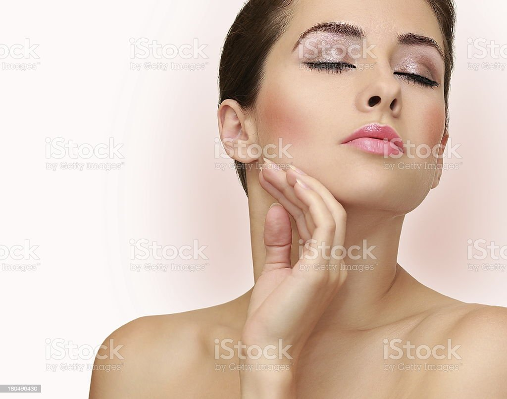 Beauty woman face with health skin. Closeup portrait royalty-free stock photo