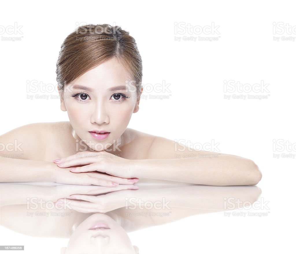beauty woman face with mirror reflection royalty-free stock photo