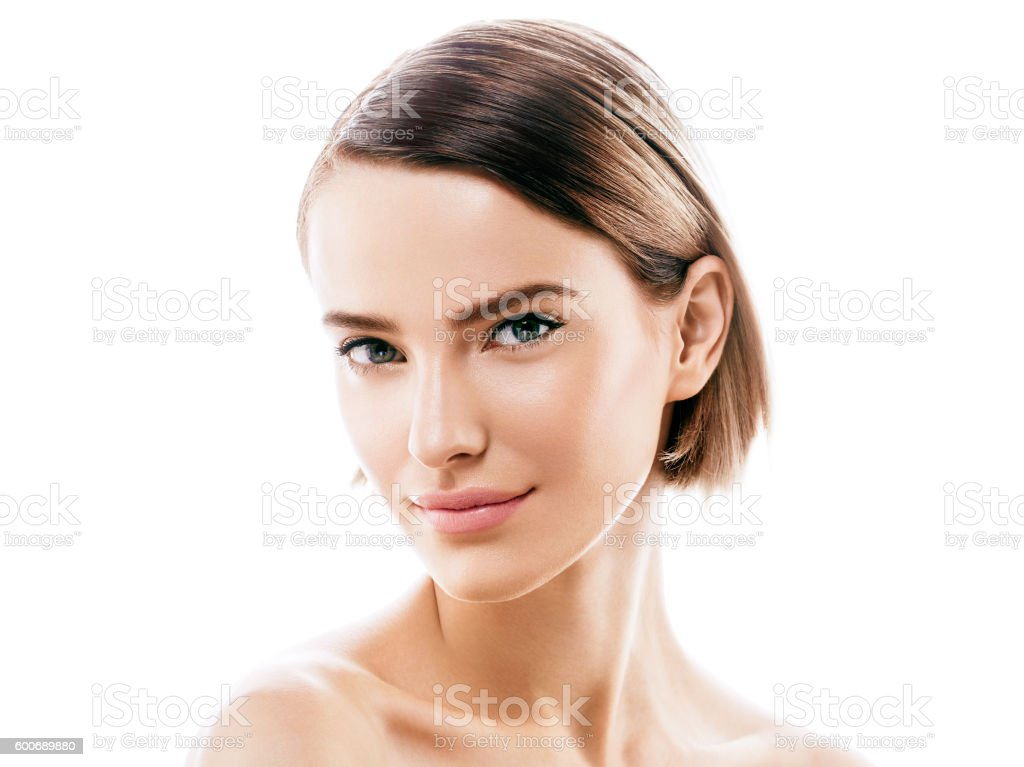 Beauty Woman face with perfect skin Portrait. Isolated on white. royalty-free stock photo