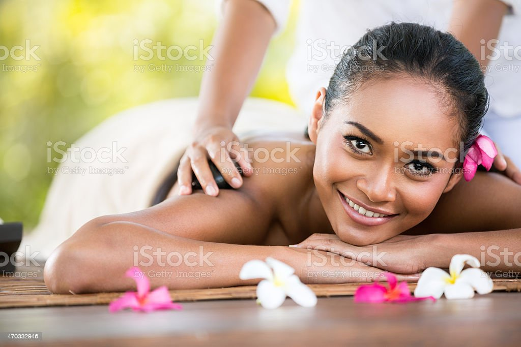 Beauty woman getting relaxation in spa salon stock photo