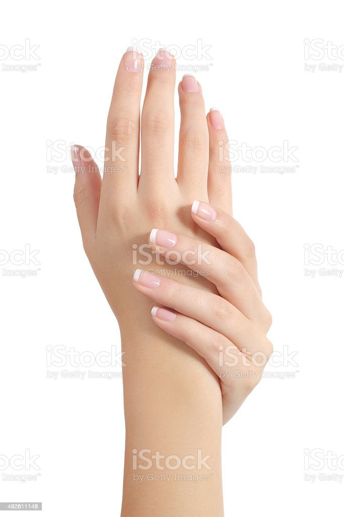Beauty woman hands with perfect french manicure stock photo