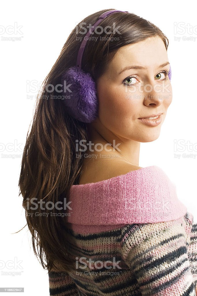 Mujer de belleza en heaphones foto de stock libre de derechos