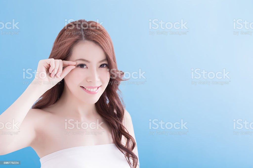 beauty woman look you happily stock photo
