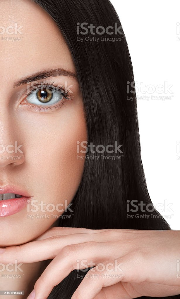 Beauty woman portrait half-face close-up isolated on white stock photo