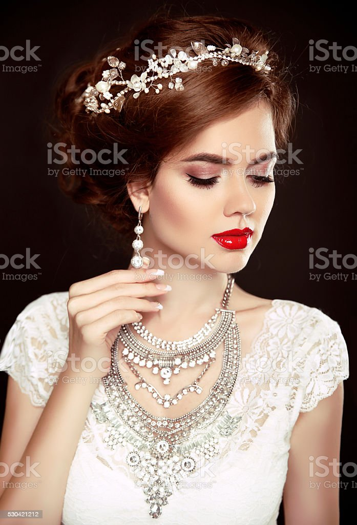 Beauty woman portrait. Wedding Hairstyle. Beautiful fashion stock photo