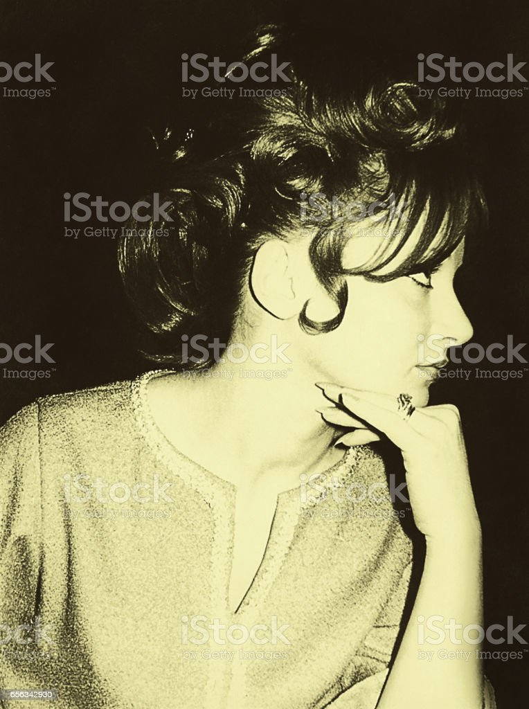 Beauty woman profile from the sixties stock photo