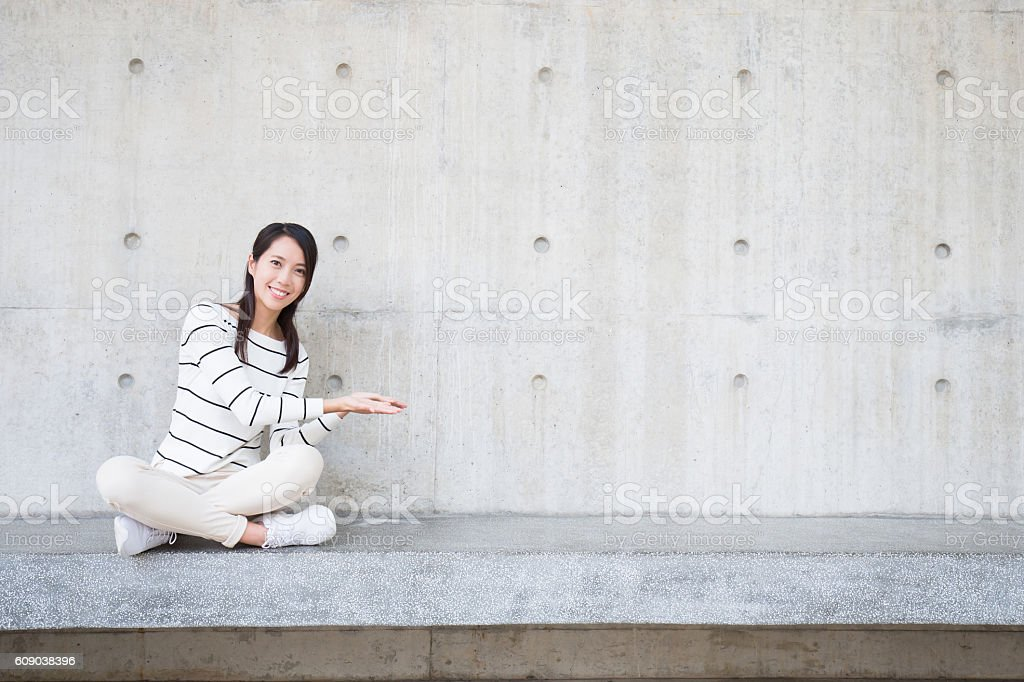 beauty woman smile and sit stock photo
