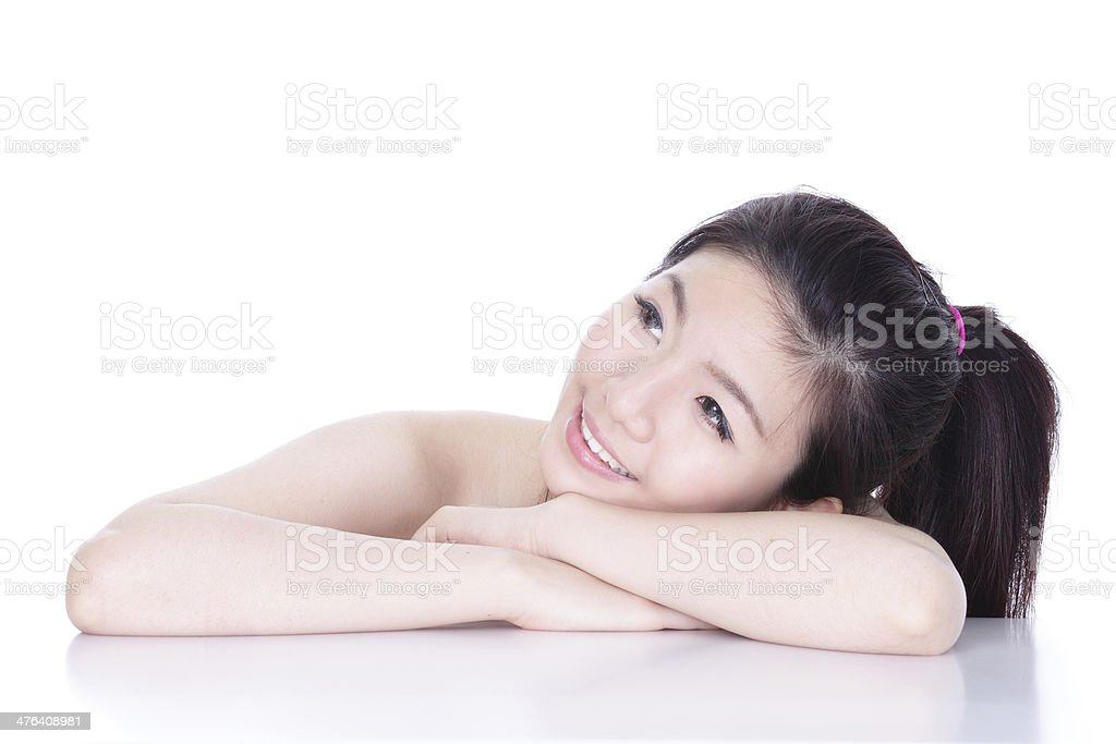 beauty woman smile face looking to the side royalty-free stock photo