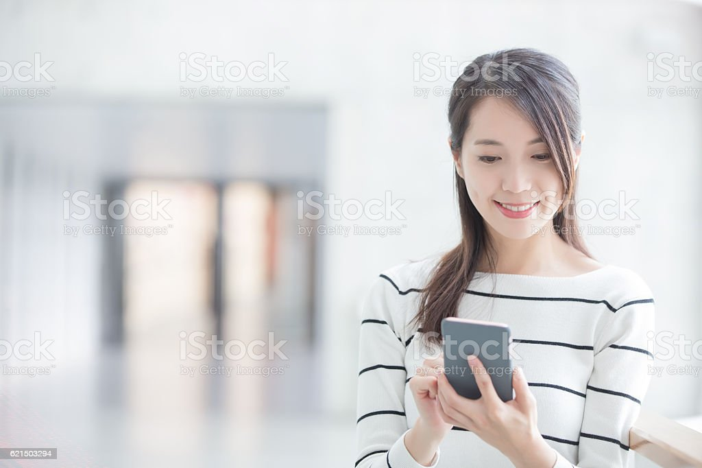 beauty woman use phone stock photo
