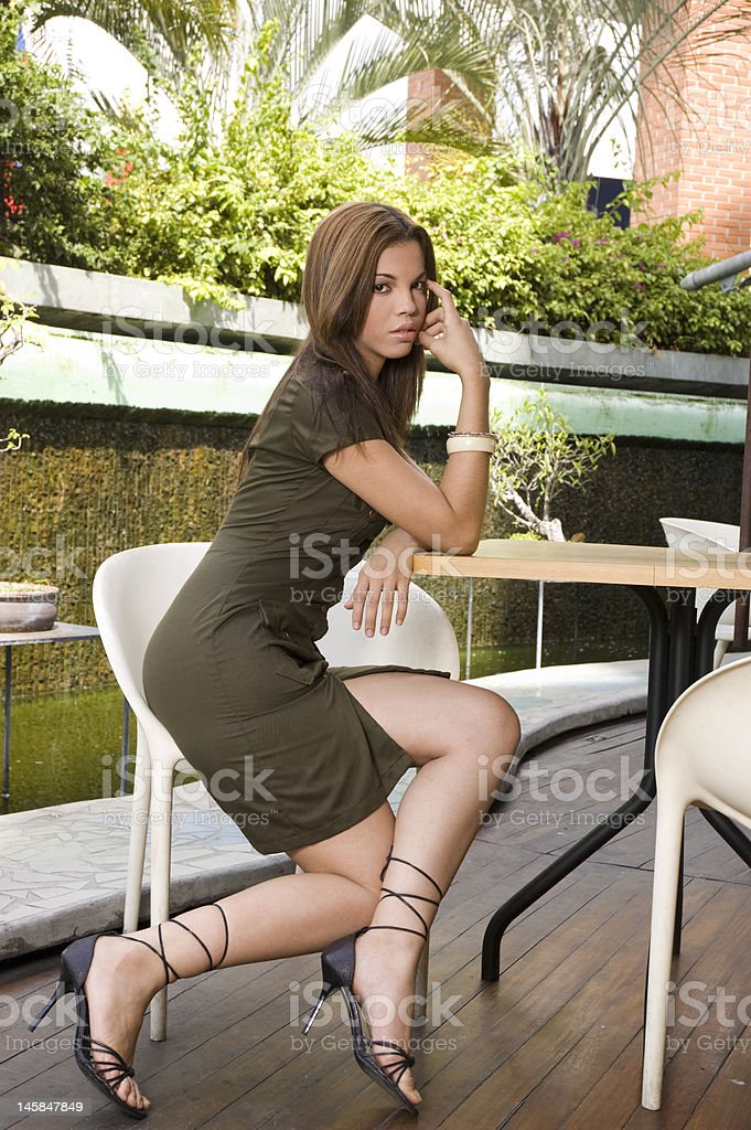 Beauty Woman Waiting in a chair royalty-free stock photo