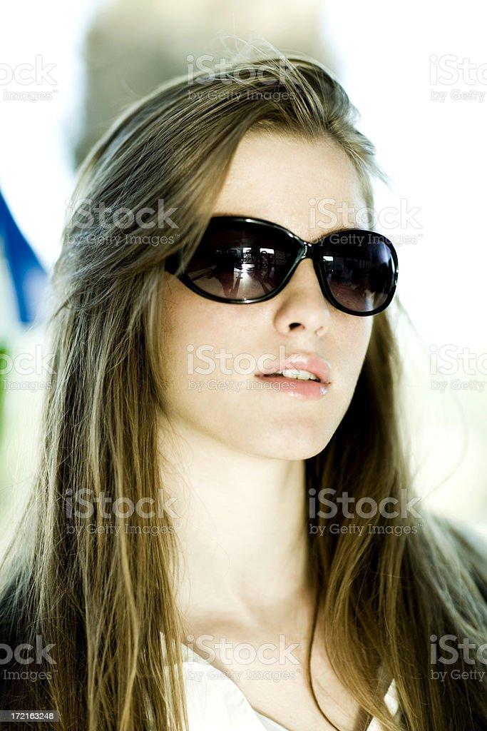 beauty woman wearing sunglasses royalty-free stock photo